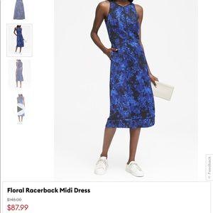 BANANA REPUBLIC floral racerback midi dress